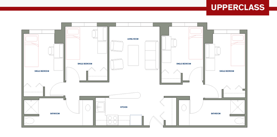 Four-Person Apartment Floor Plan