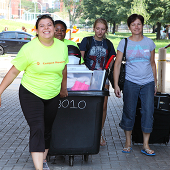 Picture of students moving in to the residence hall