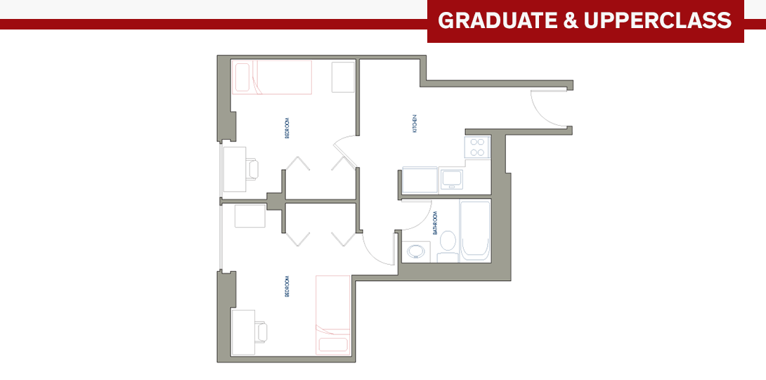 SSR 2-person Efficiency Apartment Floor Plan