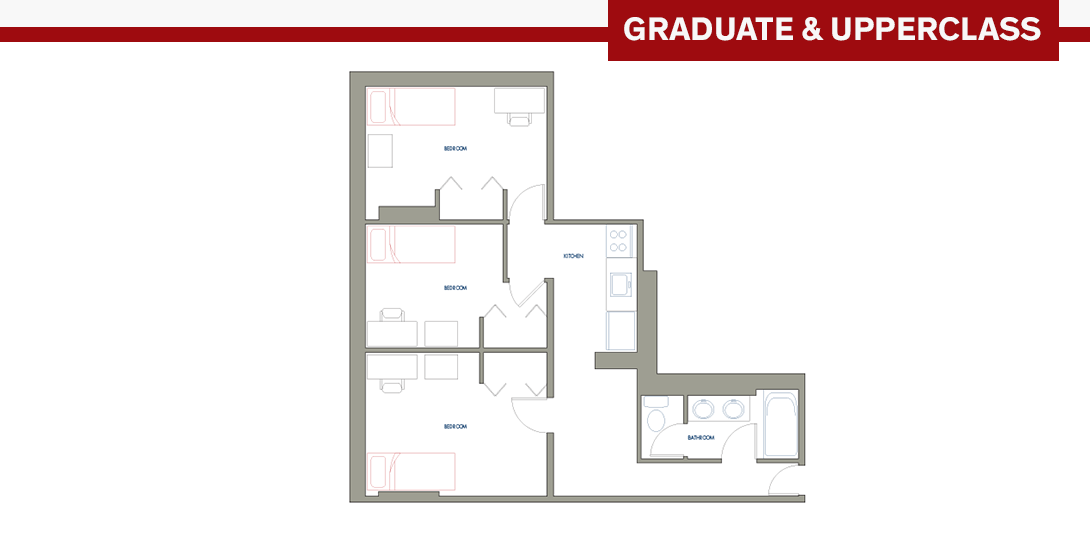 SSR 3-person Efficiency Apartment Floor Plan